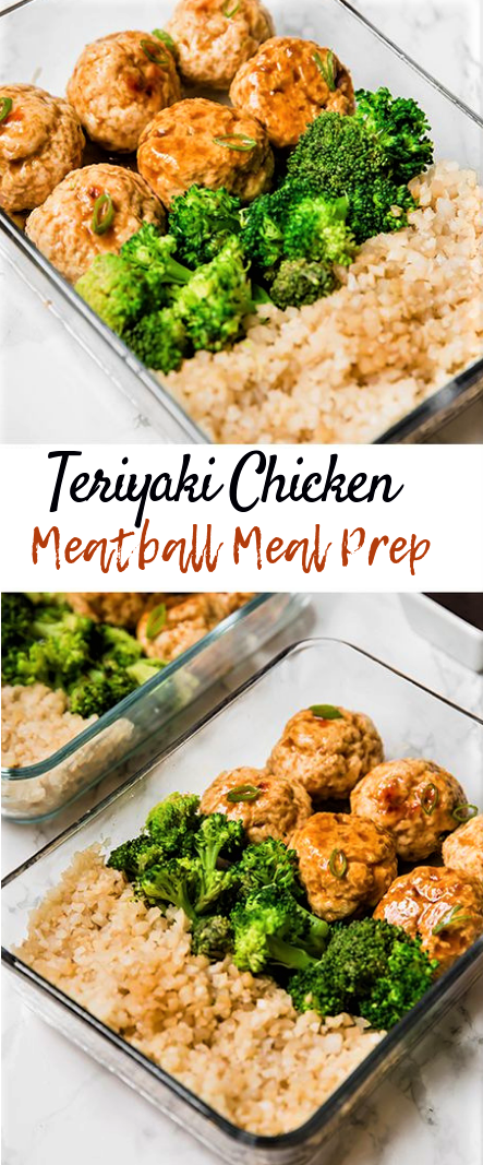 Teriyaki Chicken Meatball Meal Prep #dinnerrecipe #teriyakimeaball
