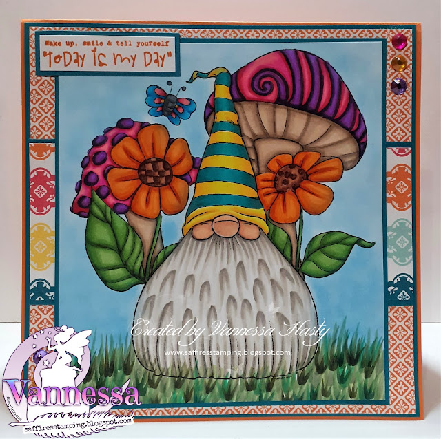 Bright Card Featuring Cheery Gnome Shroom Blooms