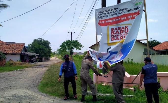 Trantib Kecamatan Carenang di Dampingi Panwascam dan PKD Tertibkan APS