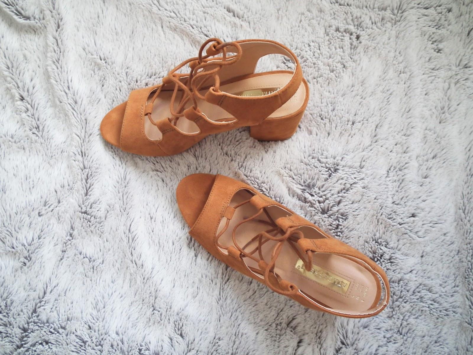 Primark Haul - Spring 2016 Laceup tan heeled sandals