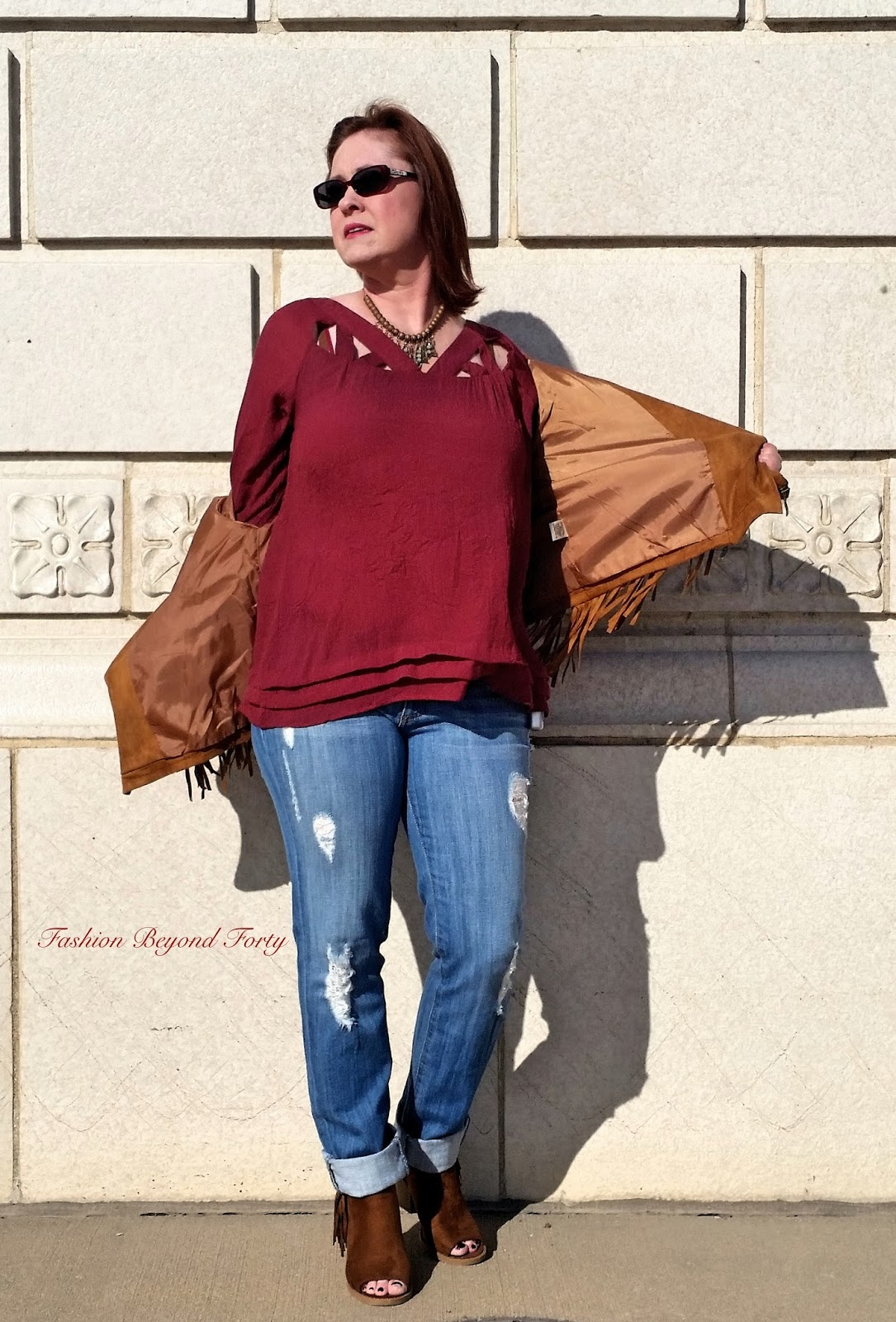 PinkBlush Tan Fringed Suede Cropped Jacket Styling