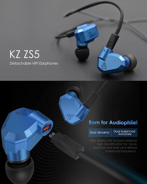 Coupon KZ ZS5 Detachable HiFi Earphones on Gearbest