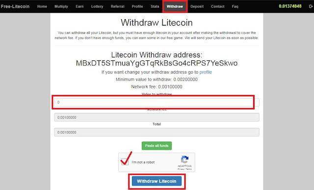 كيفية السحب من موقع Free Litecoin