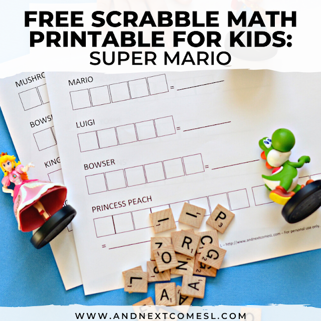 Free printable Mario math game for kids to practice addition and even spelling!