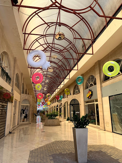 arcade decorated with beach rings, Limassol/Lemesos
