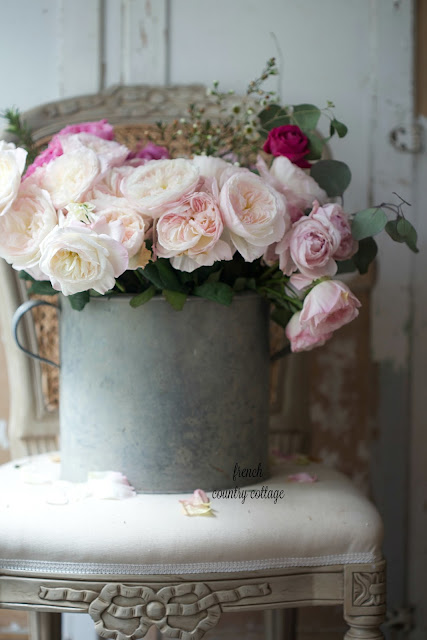Vintage zinc bucket filled with David Austin garden roses on French style chair