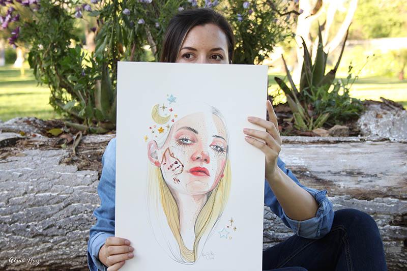 Ilustración de Ana Santos bordada por Almu Ruiz