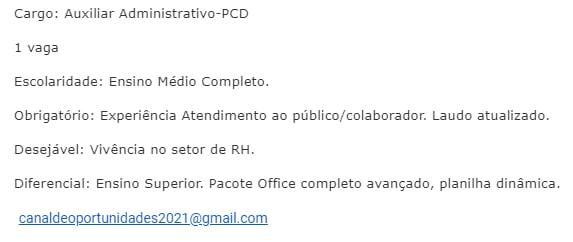 AUXILIAR ADMINISTRATIVO - PCD