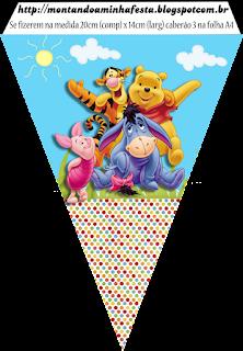 Banderines de Fiesta de Winnie the Pooh para imprimir gratis.