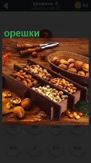 нас толе в разных коробках лежат орешки различные