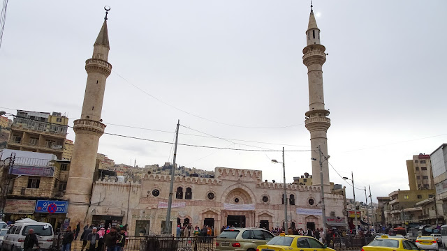 The mosque is in the middle of downtown Amman, and it is busy throughout the day