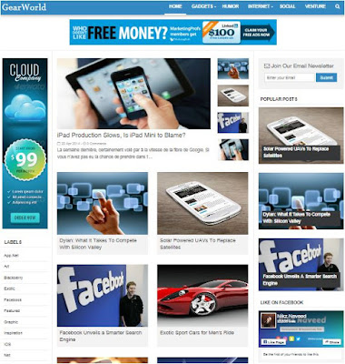 GearWorld Adsense Responsive Blogger Templates Without Footer Credit