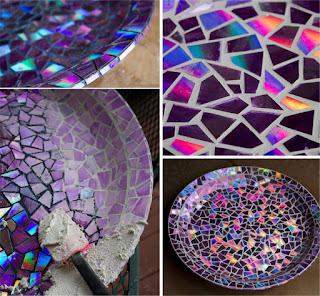 manualidad de mosaico collage con CDs reciclados