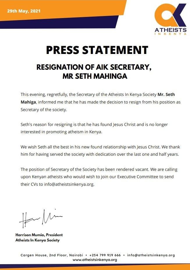 Mr. Seth Mahiga has resigned as the Secretary of Atheists in Kenya society