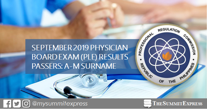 LIST OF PASSERS: A-M September 2019 Physician board exam PLE result