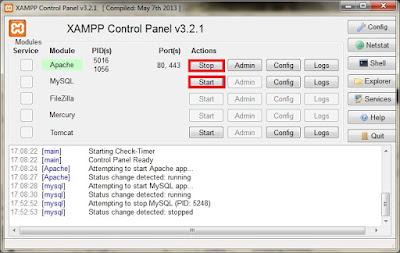 XAMPP control panel settings tweak