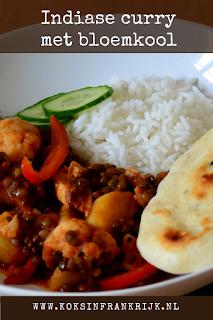 Vegetarische Indiase curry met bloemkool en linzen