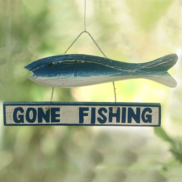 Gone Fishing Wood Sign Wall Décor