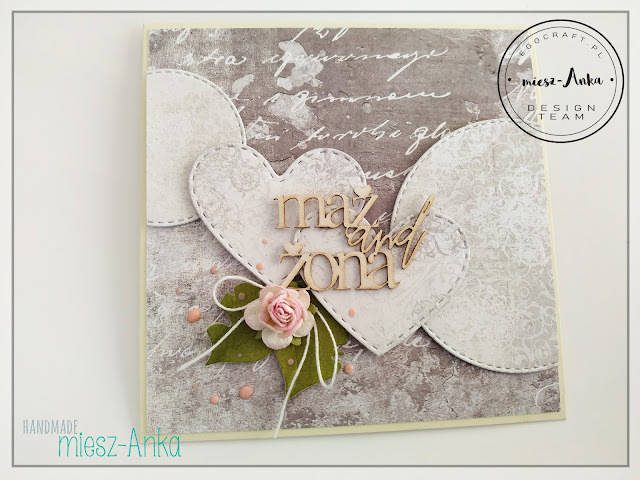 Ślubna kartka z sercami