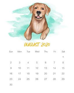 Perritos en Acuarela: Calendario 2020 para Imprimir Gratis.