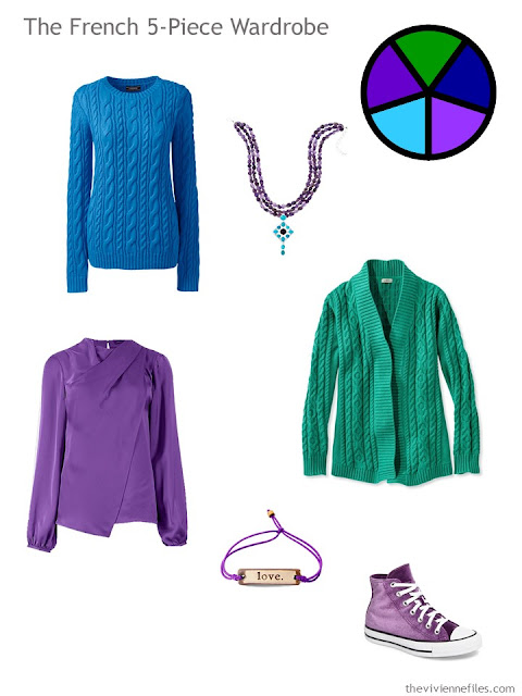 A French 5-Piece wardrobe in bright blue, bright green, and ultraviolet