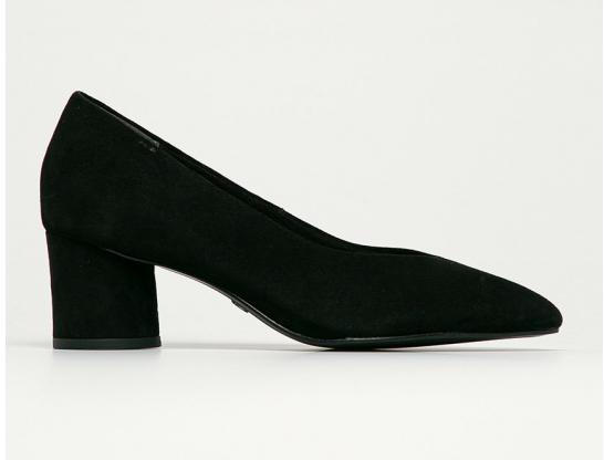 Pantofi cu toc mic negri din piele intoarsa
