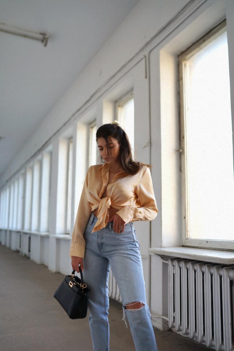 Jeans & peachy silk shirt