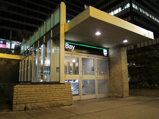 Cumberland St. entrance to the TTC's Bay station