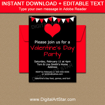 black and red Valentine invitation template - party decor