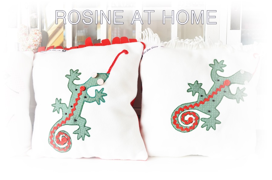 rosine at home kissen die 3 mit echsen. Black Bedroom Furniture Sets. Home Design Ideas