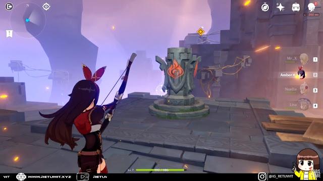 panah amber untuk membuka portal element