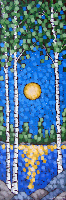 moonlit spring birches painting by artist aaron kloss, painting of birches moon spring lake night, pointillism, duluth painter, duluth artist