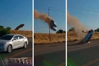 """Câmera flagra carro """"voando"""" sobre rodovia em terrível acidente; assista!"""