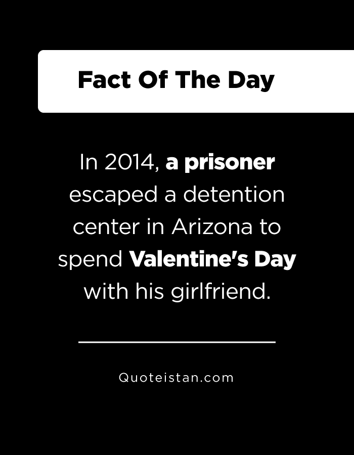 In 2014, a prisoner escaped a detention center in Arizona to spend Valentine's Day with his girlfriend.