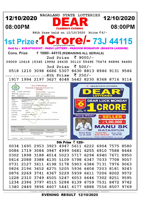 Lottery Sambad 12-10-2020 Today Results 8:00 pm, Nagaland State Lottery Sambad Today Result 8 pm, Sambad Lottery, Lottery Sambad Live Result Today
