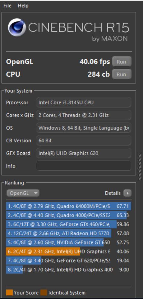 Benchmark Cinebench R15 Asus Vivobook Ultra A412FA EK303T