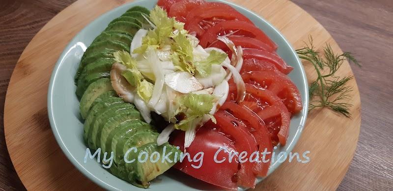 Салата от резене, авокадо и домати