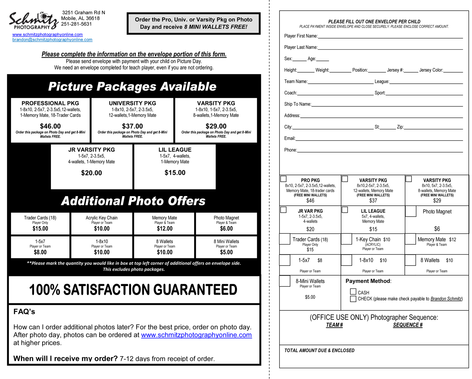 Photography order form template how to make an order form for Youth sports photography templates