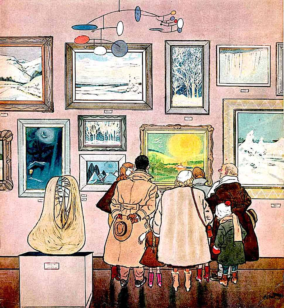 a 1952 Oscar Cahén illustration of cold Canadian art gallery visitors drawn to a sunny painting