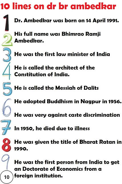 short 10 lines essay on DR Br Ambedkar in english