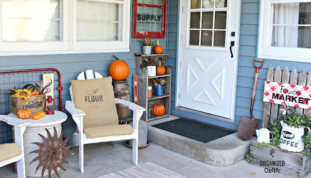 A Farm Supply Window Sign & A Fall Covered Patio #farmhousestyle #farmhouse #outdoordecor #stencil #oldsignstencils #fall #autumn