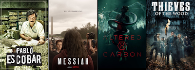 Netflix İçerikleri (Pablo Escobar: Kötülüğün Efendisi, MESSIAH, Altered Carbon ve Thieves of the Wood)