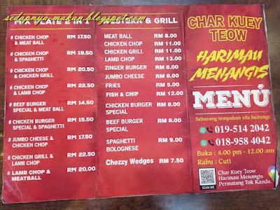 menu 2 restoran char kuey teow harimau