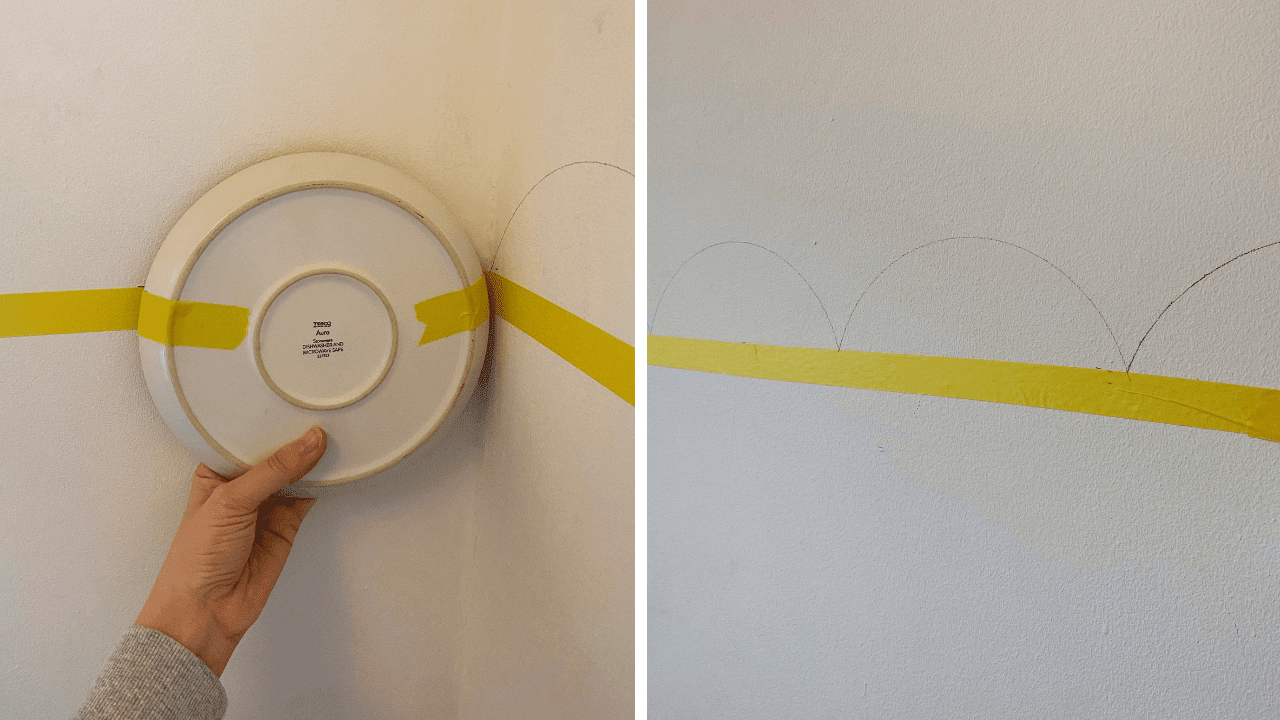 How to DIY a half-painted wall with scallop edge. Simple DIY project to add some colour to a nursery wall. Nursery decor inspiration for your home
