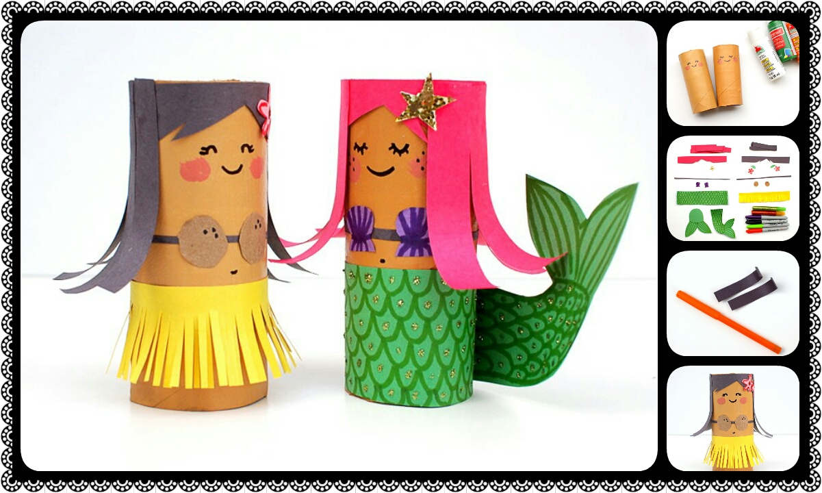 Toilet Roll Crafts Hula Girl And Her Mermaid Friend