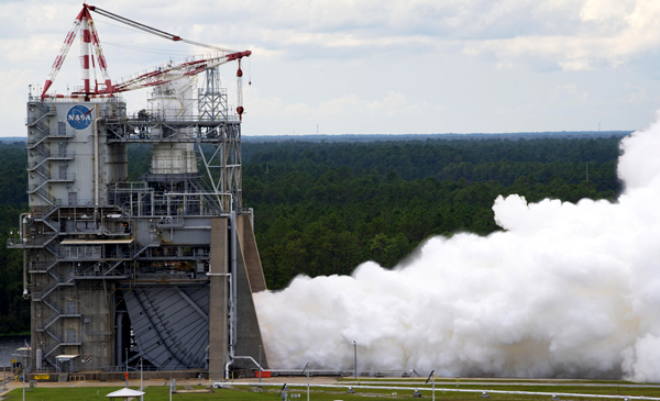 An RS-25 engine is test-fired inside the A-1 test stand at NASA's Stennis Space Center in Mississippi...on September 30, 2021.
