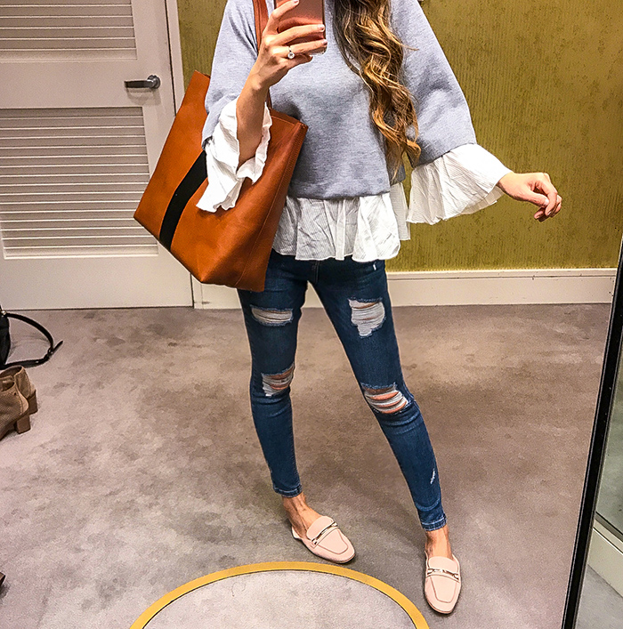 Nordstrom anniversary sale, nordstrom anniversary sale 2017, nordstrom anniversary sale 2017 try on haul, bp pink loafer, grey swing top, topshop skinny jeans, madewell tote, san francisco fashion blog, san francisco style blog, nsale picks