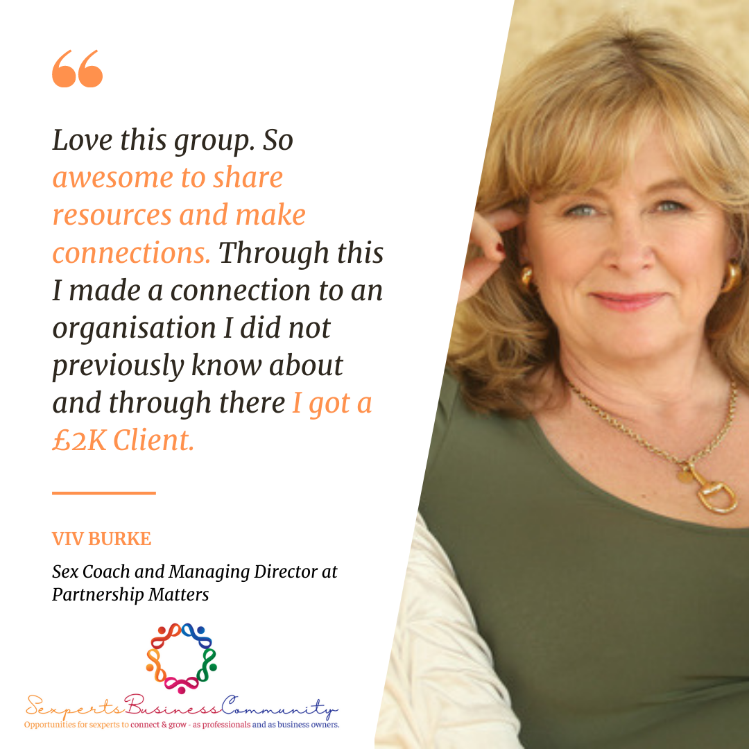 Viv Burke, Testimonial, SBC, sex coach, partnership matters, getting clients, 2k,
