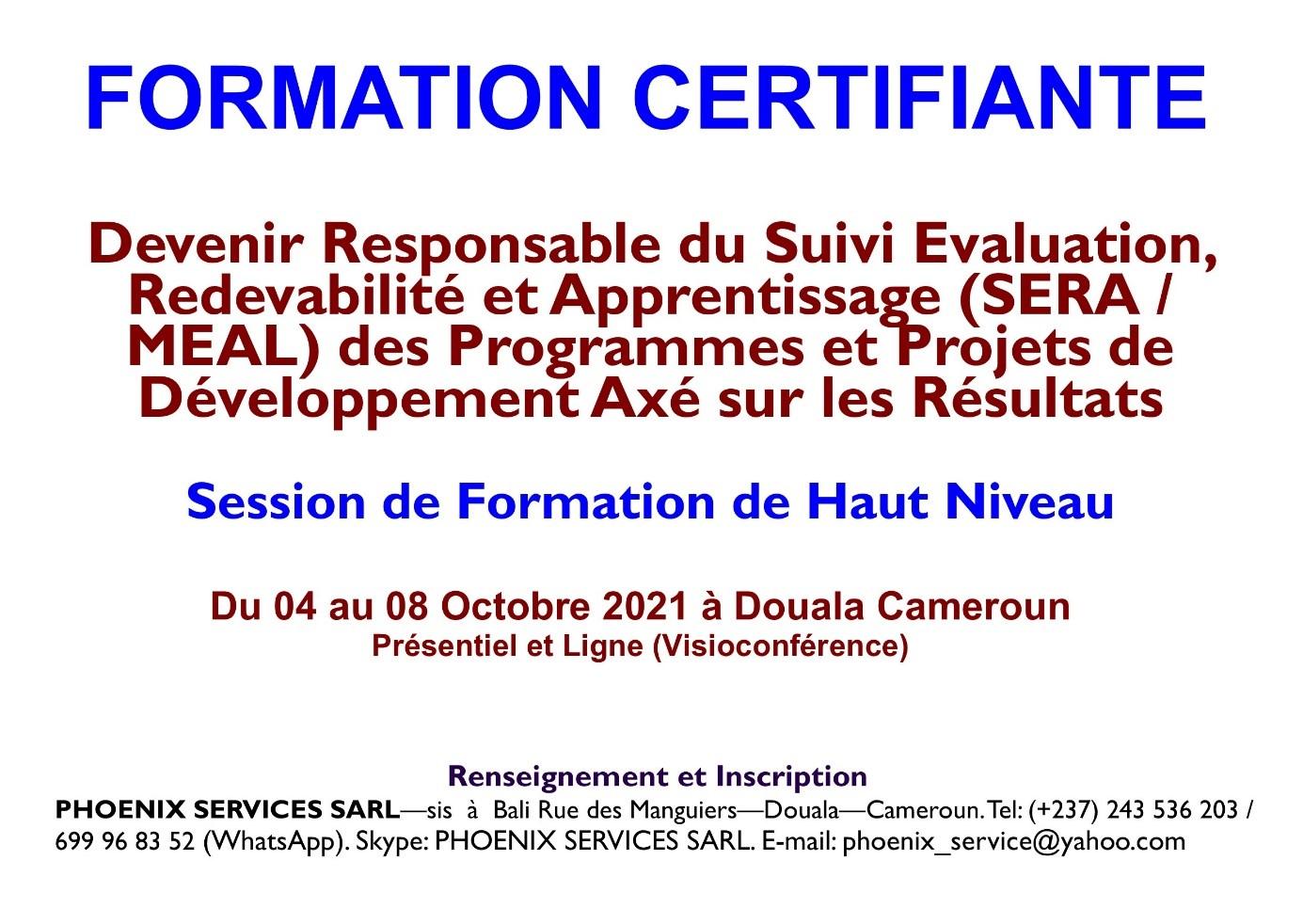 Formation Certifiante: Devenir Responsable du Suivi - Evaluation Redevabilité et Apprentissage (SERA / MEAL) des Programmes et Projets de Développement axé sur les résultats
