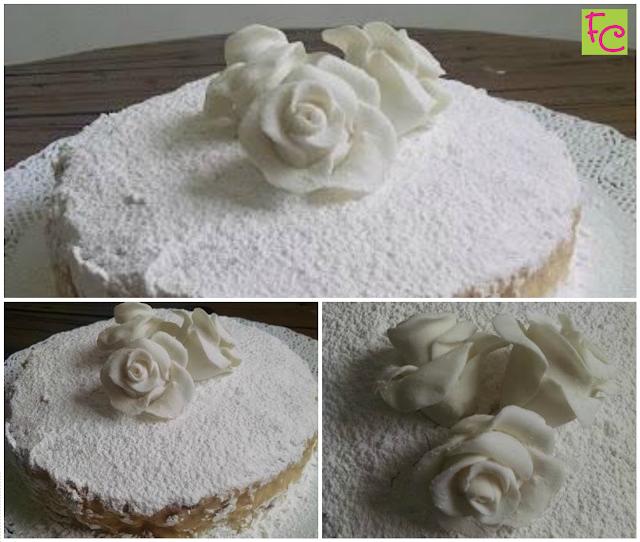 Bolo Pelado Rosas Brancas - Bem Casado